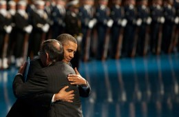 Obama giving a hug