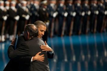 Obama giving a hug